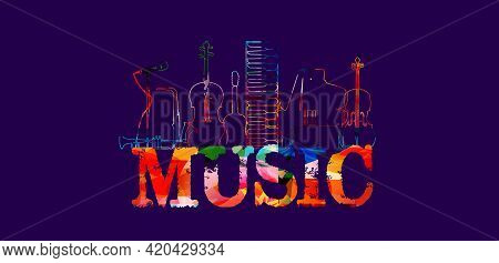 Music Banner. Colorful Musical Promotional Poster With Musical Instruments Vector Illustration. Arti
