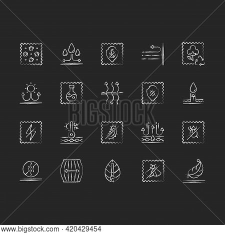 Different Types Of Fabric Feature Chalk White Icons Set On Black Background. Fiber Characteristics.
