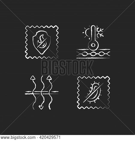 Fabric Characteristics Chalk White Icons Set On Black Background. Fireproof And Breathable Textile.