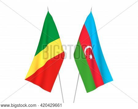 National Fabric Flags Of Republic Of Azerbaijan And Republic Of The Congo Isolated On White Backgrou