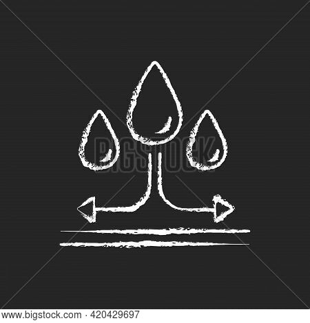 Water Repellent Fabric Feature On Fabric Chalk White Icon On Black Background. Rain Proof Fiber. Imp