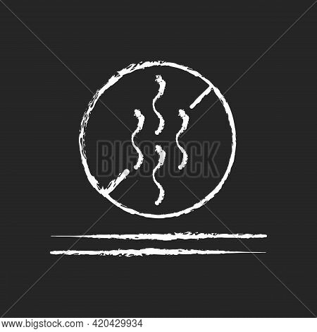Odor Resistant Textile Feature Chalk White Icon On Black Background. Fiber Property For Suppressing