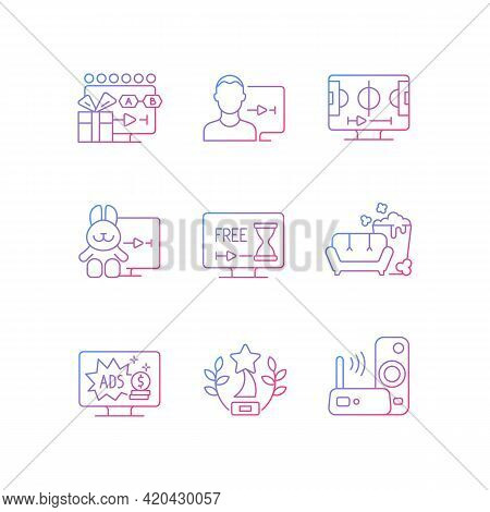 Broadcast Services Gradient Linear Vector Icons Set. Viewing Episodes. User Account. Sports Streamin