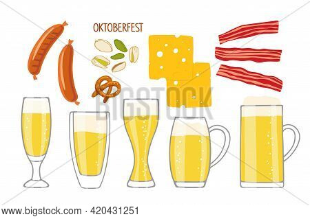 Big Beer Set. Vector Different Beer Mugs And Snacks, Bavarian Sausages, Pretzel, Cheese, Bacon, Pist