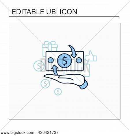 Cash Payment Line Icon. Hand Hold Money. Cash Deposits Only.universal Basic Income Concept. Isolated