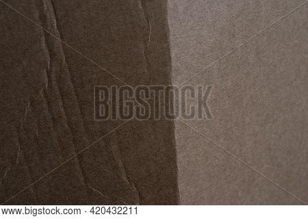 Light Brown Linen Crumpled Cardboard Texture. Paper Background For Design. Close Up Brown Color Surf