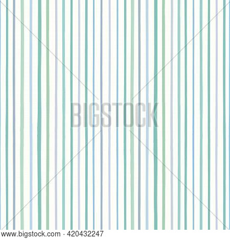 Striped Background Vector Pattern In Green And Blue. Textured Hand Drawn Vertical Stripe Design. Gra