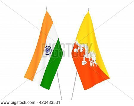 National Fabric Flags Of India And Kingdom Of Bhutan Isolated On White Background. 3d Rendering Illu
