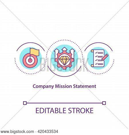 Company Mission Statement Concept Icon. Company Purpose Articulation Idea Thin Line Illustration. De