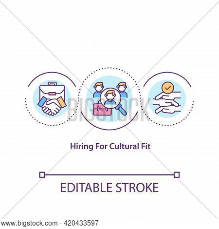 Hiring For Cultural Fit Concept Icon. Beliefs, Values Mixture In Company Idea Thin Line Illustration
