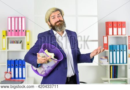 Businessman Hold Trash Can. Paper Recycling. Destruction Of Evidence. No Evidence. Waste Paper Colle