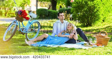 Perfect Spring Date. Idyllic Moment In Garden. Man And Woman In Love. Couple Sit Blanket. Happy Toge