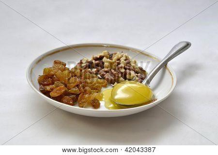 raisins, nuts and honey