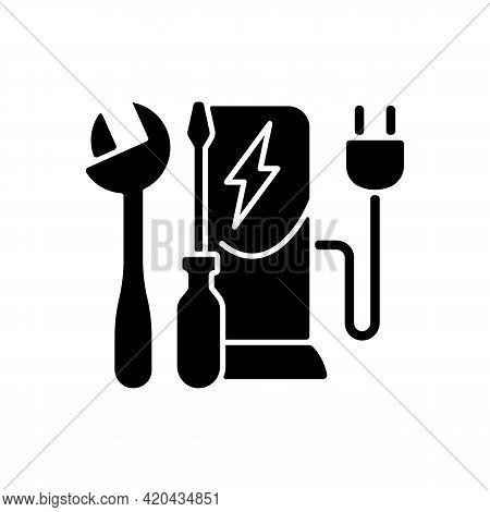 Charging Station Maintenance Black Glyph Icon. Fixing Electronic Vehicle Charging Place. Dealing Wit