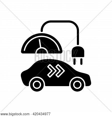 Level 2 Charger Black Glyph Icon. Different Types Of Charging Connectors. Fueling Electromobile With