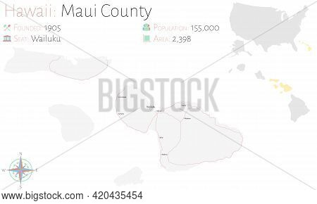 Large And Detailed Map Of Maui County In Hawaii, Usa.