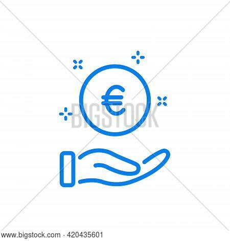 Charity, Donate, Give And Help Concept. Pay, Save And Invest Money Line Icon. Hand With A Coin Line