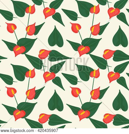 Seamless Botanical Pattern With Red Flowers . Red Anthurium With Leaves.