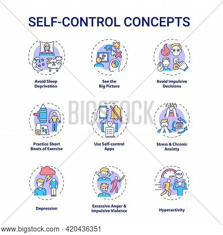Self Control Concept Icons Set. See Big Picture. Avoid Impulsive Decision. Personal Regulation Idea