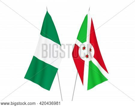 National Fabric Flags Of Nigeria And Burundi Isolated On White Background. 3d Rendering Illustration