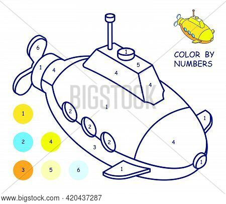 Children Linear Drawing For Coloring Book. Submarine In Linear. Children Toys And Entertainment. Und