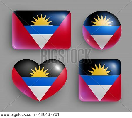 Antigua And Barbuda Country Flag Glossy Button Set. American Country National Flag, Shiny Geometric