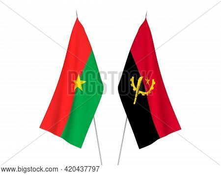 National Fabric Flags Of Angola And Burkina Faso Isolated On White Background. 3d Rendering Illustra