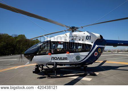 05.11.2021 Ukraine. Kyiv. Forum Ukraine 30. Exhibition Police Helicopter Of Ukraine.