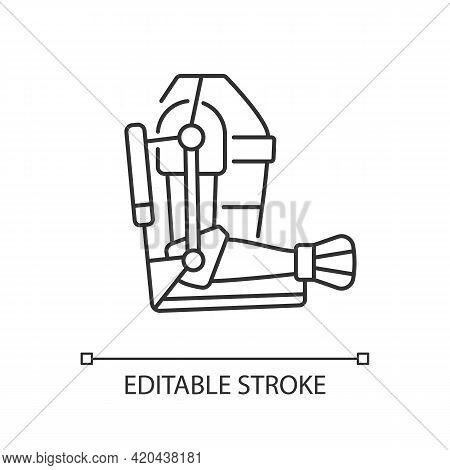 Exoskeleton Black Glyph Icon. Advanced Medical Prosthesis. Progressive Device. Body Augmentation. Th