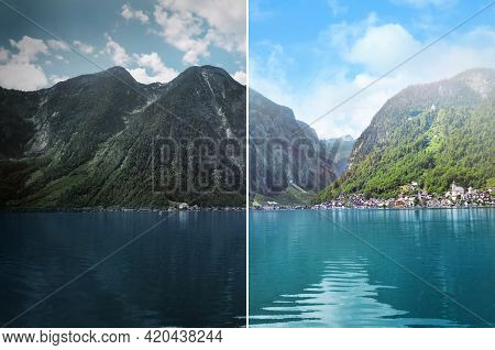 Photo Before And After Retouch, Collage. Picturesque View Of Small Resort Town Near Mountains On Riv