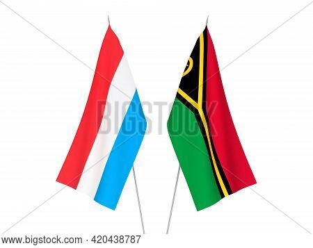 National Fabric Flags Of Luxembourg And Republic Of Vanuatu Isolated On White Background. 3d Renderi