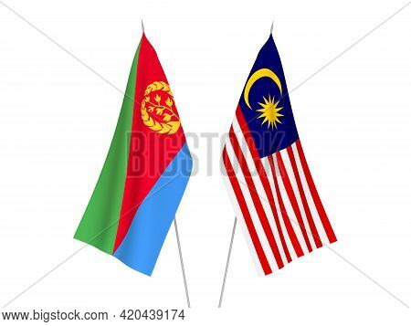 National Fabric Flags Of Malaysia And Eritrea Isolated On White Background. 3d Rendering Illustratio