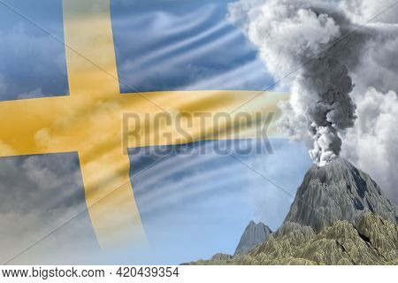 Conical Volcano Eruption At Day Time With White Smoke On Sweden Flag Background, Problems Of Eruptio