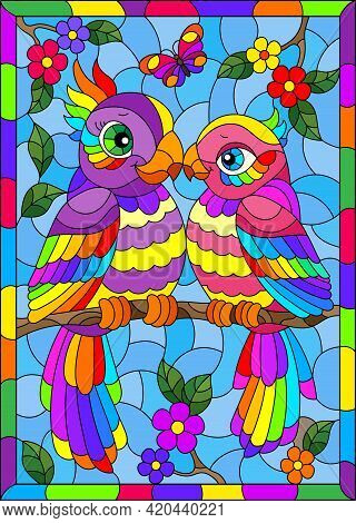 Stained Glass Illustration With Bright Cartoon Parakeets Against A Blue Sky And Flowers, In A Bright