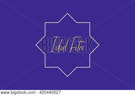 Selamat Idul Fitri Vector Background. Happy Eid Typography Indonesian Character.