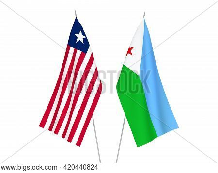 National Fabric Flags Of Republic Of Djibouti And Liberia Isolated On White Background. 3d Rendering