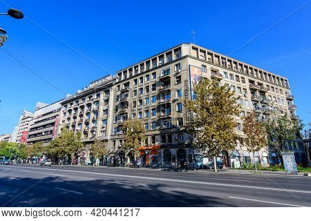 Bucharest, Romania, 8 November 2020 - Old Buildings On Nicolae Balcescu (previously Known As Gheorgh