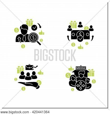 Universal Basic Income Glyph Icons Set. Dilative Class, Supporting Workers, Universal Payment, Indiv