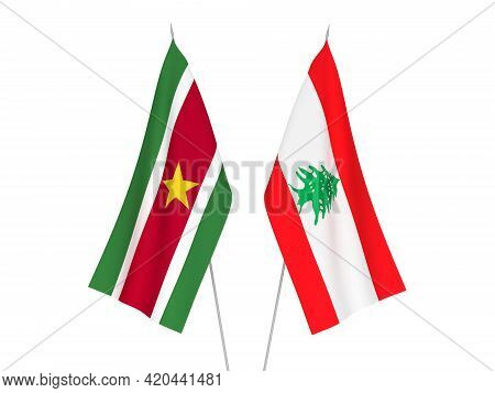 National Fabric Flags Of Lebanon And Suriname Isolated On White Background. 3d Rendering Illustratio