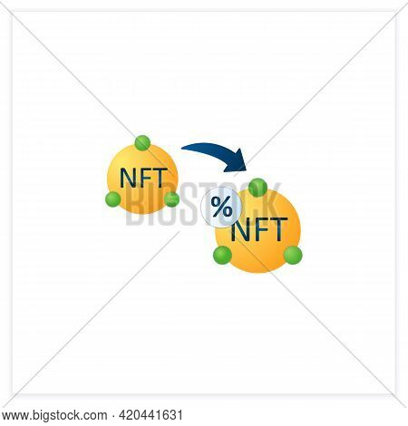 Ntf Resale Flat Icon. Subsequent Percentage. Secondary Sale.agreement. Digitalization Concept. 3d Ve