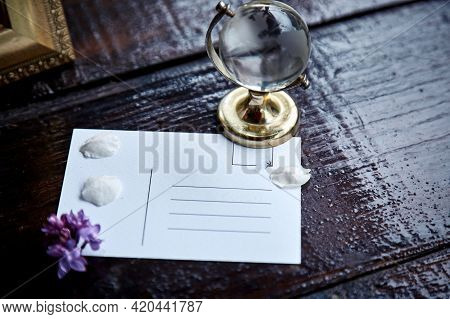 Wishing Card With Petals Of Flowers And Globe. Thank You Card. Mock Up Of Birthday Card. Wishing Of