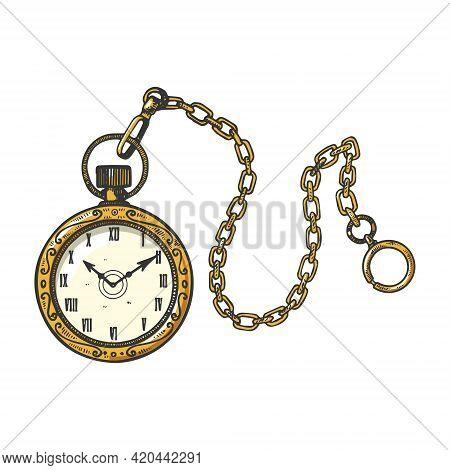 Old Fashioned Vintage Golden Clock Watch Color Sketch Engraving Vector Illustration. T-shirt Apparel