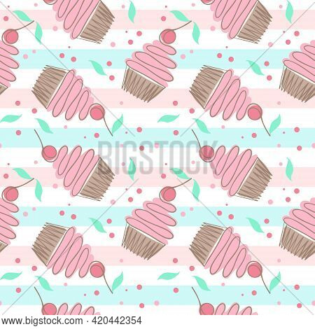 Seamless Pattern With Cakes. Cakes With Cherries, Vector Repeating Pattern. Baking On A Background O