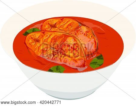 Vector Illustration Of Seer Fish Curry ,kerala Special Red Curry Garnished With Curry Leaves In A Wh