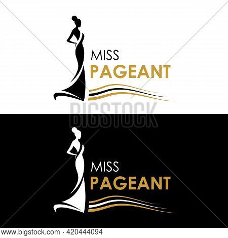 Miss Pageant Logo - Black And Yellow Gold The Beauty Queen Pageant Sign And Line Waves Vector Design