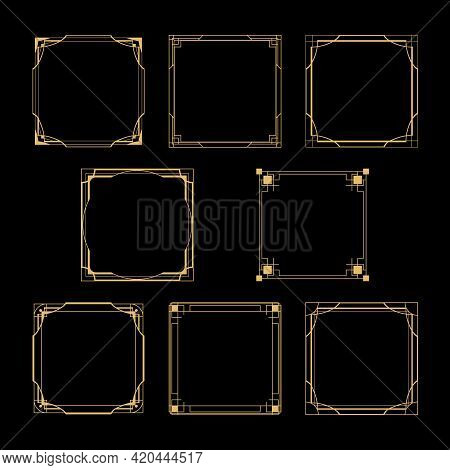 Gold Art Deco Square Borders And Frames Isolated Collection. Trendy Vintage Luxury Ornament Design E