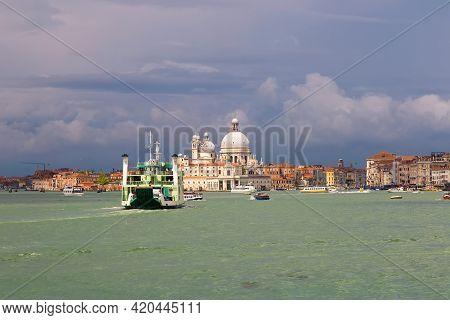Cathedral Of Santa Maria Della Salute (basilica Di Santa Maria Della Salute). Venice, Italy. Stormy