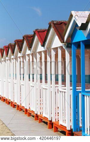 Beach Huts Blue And White In Forte Dei Marmi Tuscany