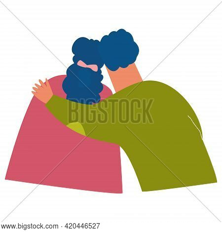 A Couple In Love Embraces. A Man Embraces A Woman From Behind. The Couple Stands With Their Backs To