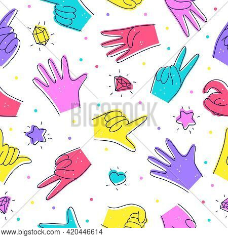 Seamless Pattern With Diverse Hands. Illustration In Doodle Style. Designation Of Hands, Gestures Is